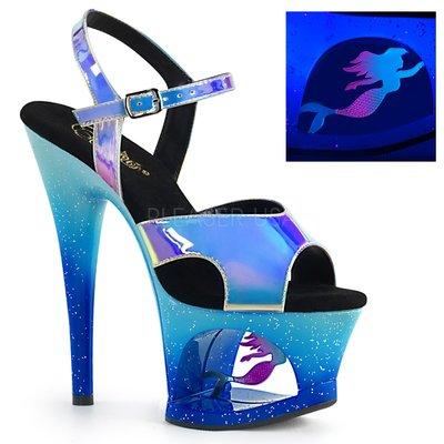 藍色海洋人魚公主螢光高跟鞋~歐美明星最...