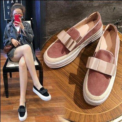 『MISS.LENG』樂福鞋女一腳蹬松糕厚底5CM真皮百搭韓版大碼單鞋女(黃色 黑色 粉紅色)34-39碼