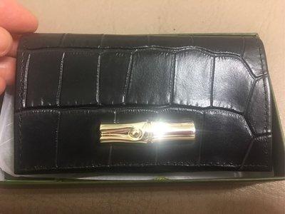 Longchamp黑色 鱷魚紋卡夾 小包的最愛,可放多張卡片、鈔票