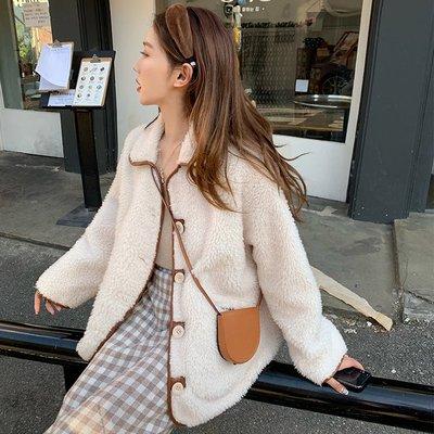 ❤JM SHOP韓風❤毛茸茸羊羔毛外套寬鬆撞色短款外套