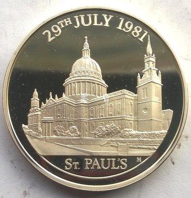 【鑒 寶】(世界各國錢幣)英國1981年聖保羅大教堂1盎司精製銀幣 WGQ1387