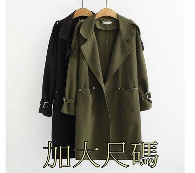E227 秋季大尺碼風衣簡約款寬鬆顯瘦中長款外套