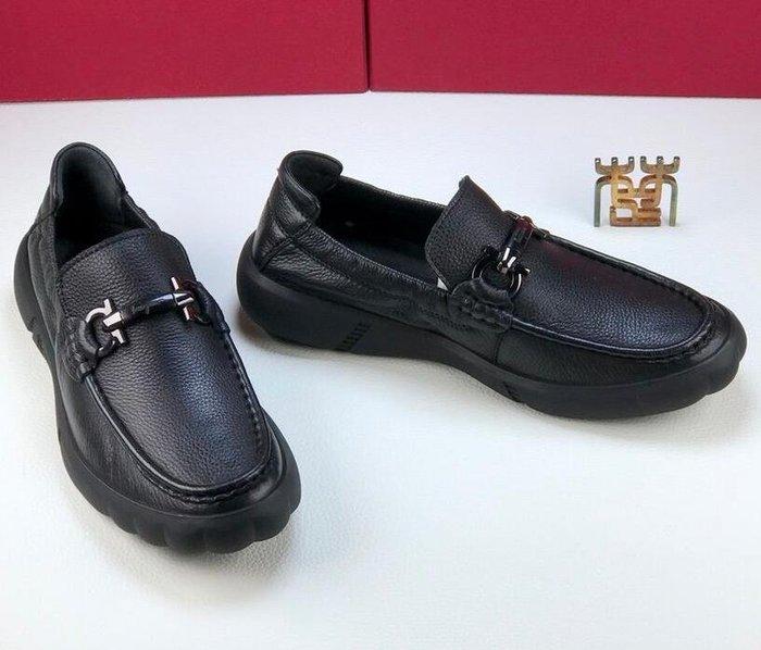 FG家 抗皺耐折 厚底商務休閑鞋 工作皮鞋 一腳蹬休閑鞋樂福鞋