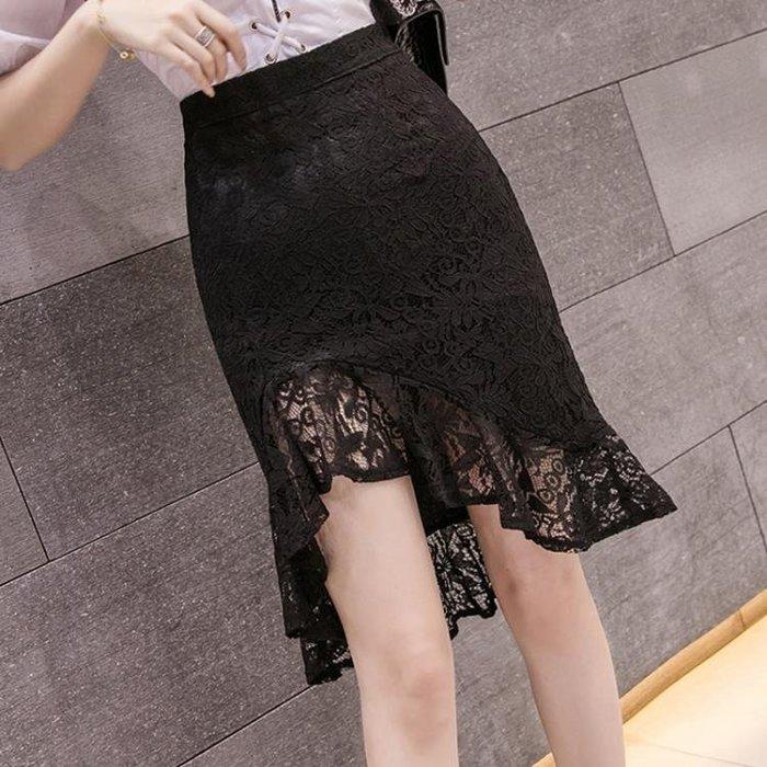 性感蕾絲鏤空荷葉邊不規則中長款半身裙魚尾裙女