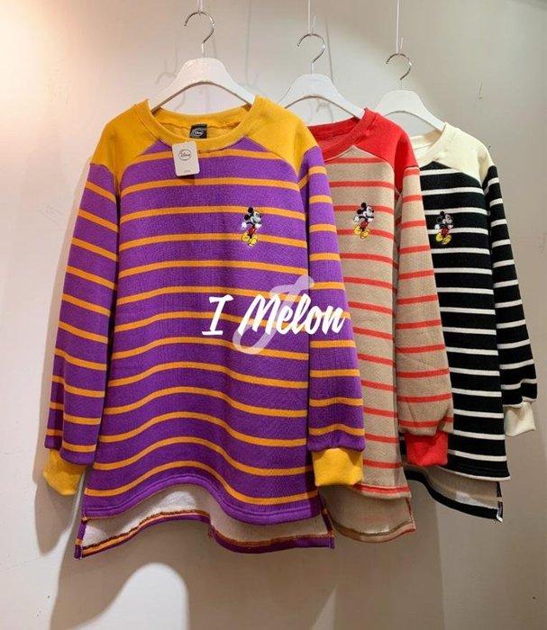 ::: i-MelOn :::100%韓國空運 正韓【現貨】米奇橫條紋前短後長內刷毛撞色長袖T恤上衣※紫黃/米紅