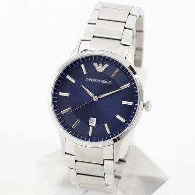 EMPORIO ARMANI AR2477 亞曼尼 手錶 43mm 藍面盤 大三針 鋼錶帶 男錶女錶