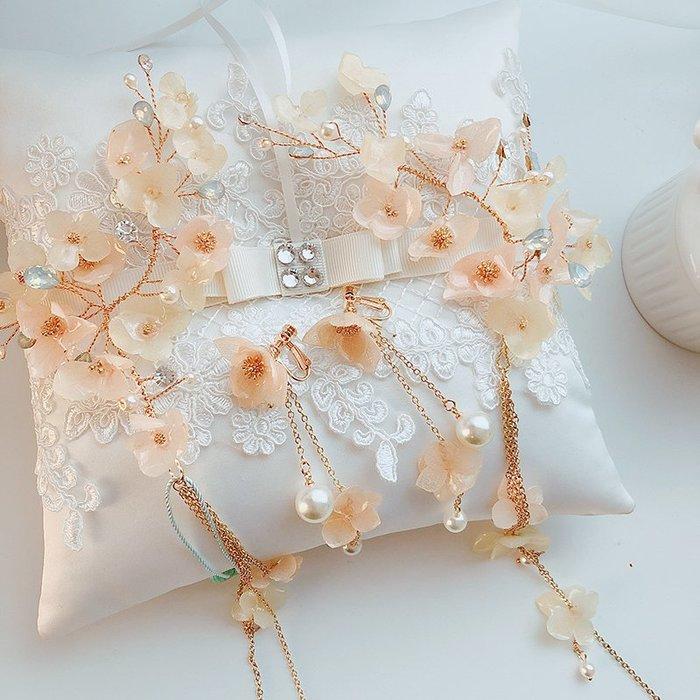皇冠 新娘 髮飾 藝術照 韓式 公主 歐式 歐美 磚 婚禮結婚 婚紗必備純手工永生花新娘頭飾套裝髮夾婚禮頭飾仙女范髮飾結