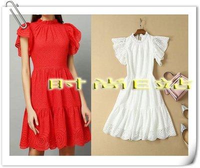 時尚E站【~SSEZ~】51508012 荷葉袖刺繡鏤空短袖裙 S M L XL  白色 紅色