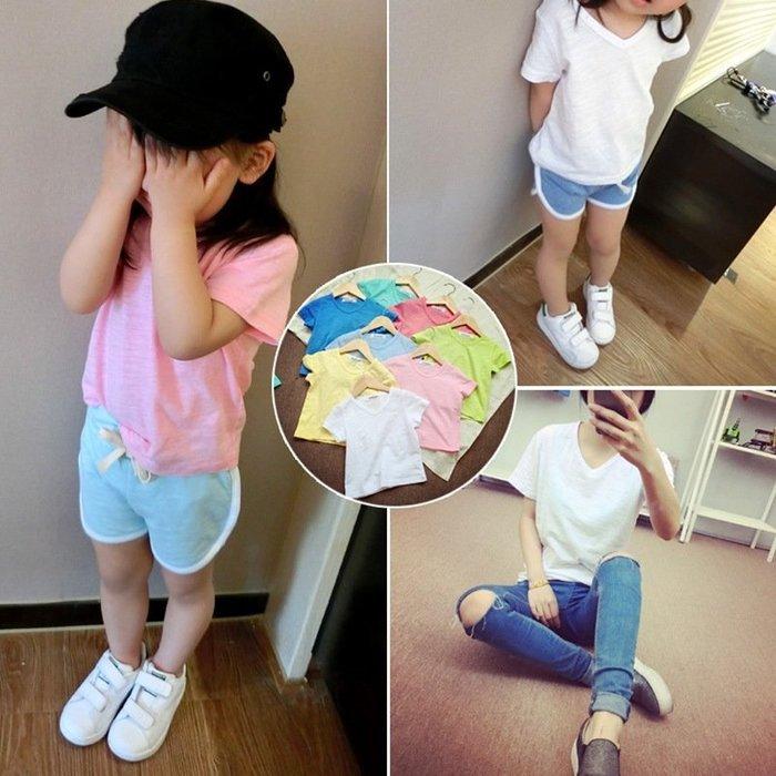 夏季 韓版 男 女童 寶寶簡約百搭T恤糖果色短袖上衣打底衫