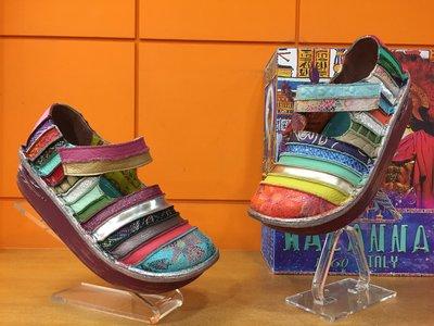 【阿典鞋店】**Macanna**麥坎納專櫃~ 鬱金香系列~橫切彩虹鞋~馬卡龍+特殊壓紋彩色配色氣墊鞋~0356