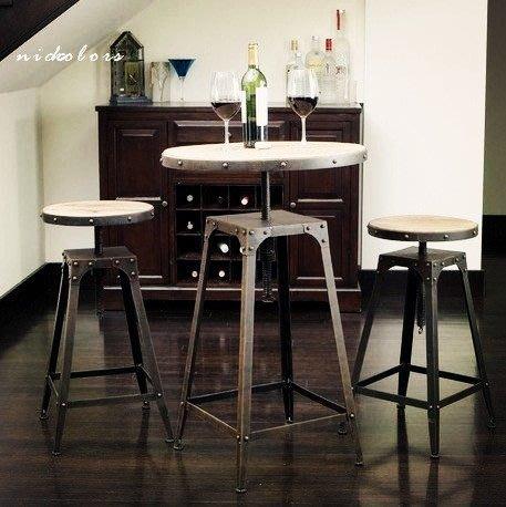 尼克卡樂斯~重工業風升降鐵椅/餐桌 loft工業風餐椅 工業風圓桌 原木咖啡桌椅組合 復古餐廳吧檯椅 北歐 美式