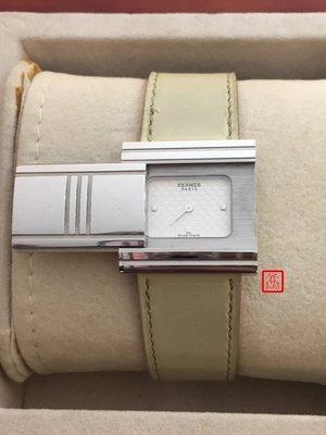 『昱閣』HERMES專櫃正品GLISSADE系列窗型灰白色牛皮石英女用腕錶