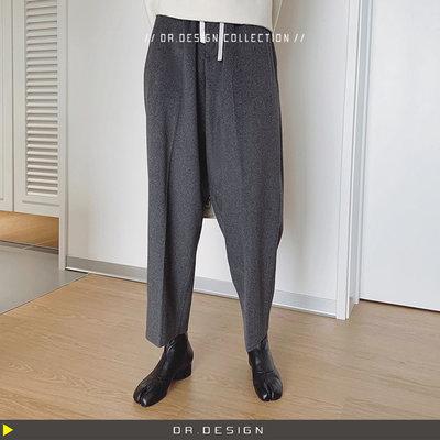 ►DR.DESIGN│DR32391-暗黑小眾極簡 版型極佳 寬鬆垂感直筒 復古西裝褲 50%羊毛呢 經典老爺褲 黑/灰