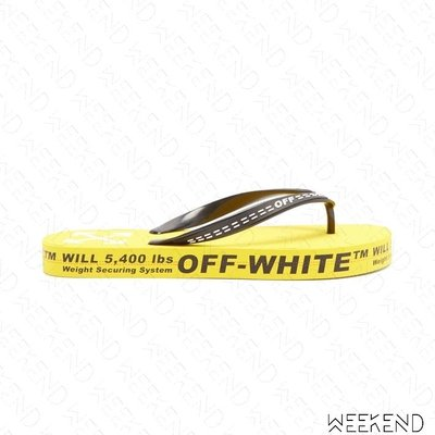 【WEEKEND】 OFF WHITE Logo Flip Flop 涼鞋 拖鞋 黃色 19秋冬