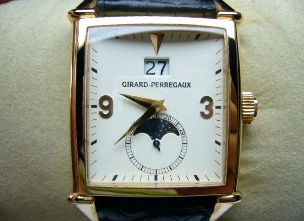 [吉宏精品交流中心]GP 芝柏 Girard Perregaux 玫瑰金 自動機械 皮帶 男錶