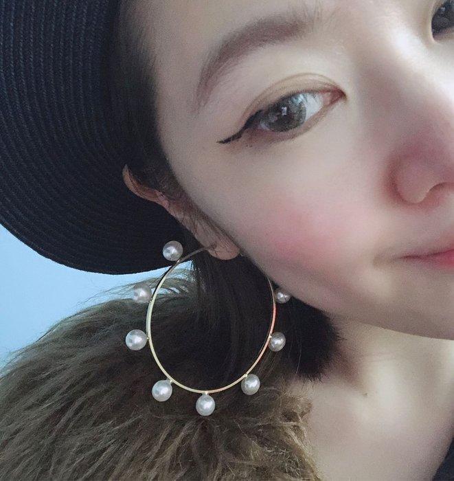 SEYES  {韓國空運} 歐美優雅設計感珍珠圈圈耳環