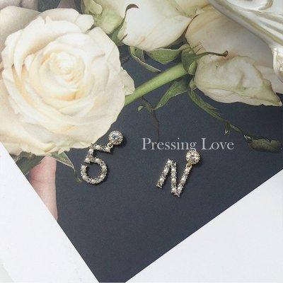 卡哇伊~Pressing Love純銀字母耳環女2021新款潮耳飾中長款氣質珍珠耳墜