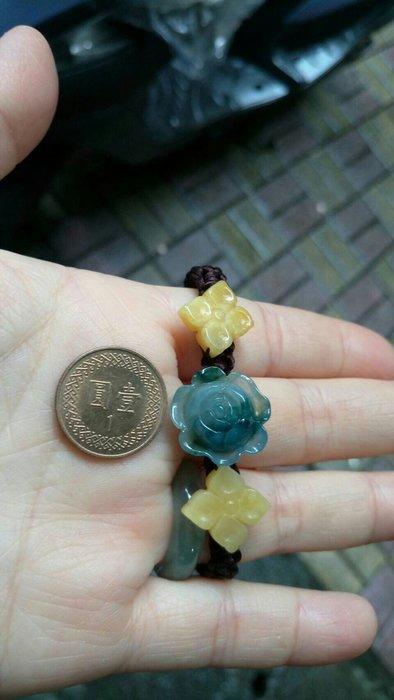 天然 A貨 緬甸玉 花朵手鏈