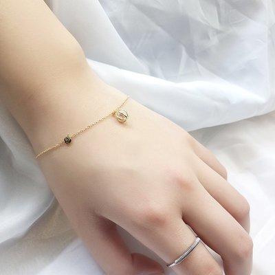 Lissom韓國代購~e 家懶人925銀手鍊女士正韓甜美鑲鉆個性橢圓首飾簡約金色飾品潮