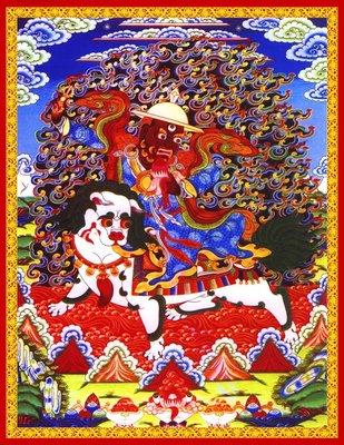 佛教掛畫 開光轉運定制單堅護法畫像唐卡藏傳佛教寧瑪巴丹堅護法神佛像掛畫密宗圖片