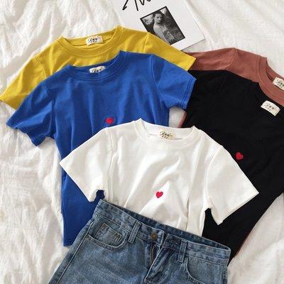 短袖女T恤新款韓版簡約刺繡愛心百搭多色寬松百搭上衣潮