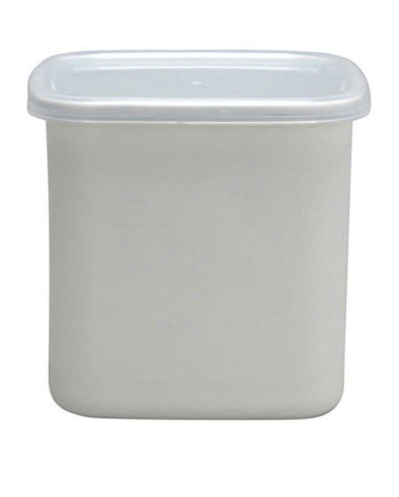 天使熊雜貨小舖~日本帶回野田琺瑯方型附蓋儲物罐 白色  WS-L  日本製   全新現貨