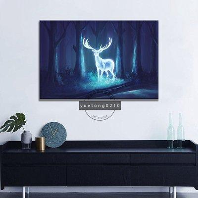 現貨促銷~無框畫 北歐ins掛畫 動物 麋鹿 奇幻生物 月光鹿 現代藝術裝飾畫 生日禮物 無框畫 房間客廳壁畫~xok6