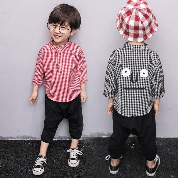 春季經典紅黑小格子長袖休閒襯衫男童中小童卡通印花寶寶必備上衣潮SF54145