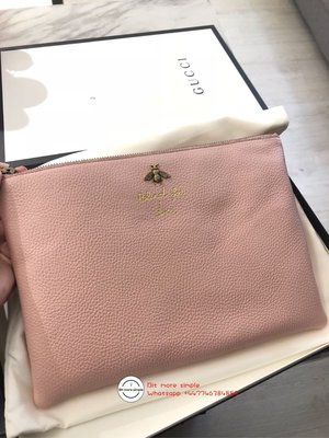 Gucci pink bee pouch
