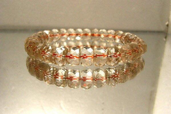 小風鈴~天然高檔寶石級清料黃水晶鑽切面角度車輪型手珠~淨重16.3g 財運石