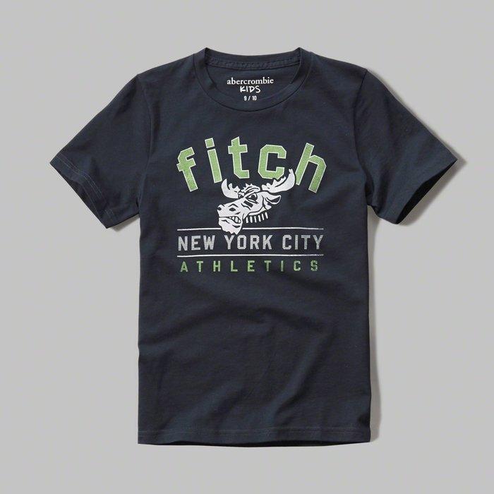 美國百分百【Abercrombie & Fitch】T恤 AF 短袖 麋鹿 kids 女 男 XS S號 深藍 G973