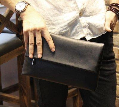 FINDSENSE Z1 韓國 時尚 潮 男 黑 皮質 商務 簡約 休閒 手拿包 皮夾包 公事包