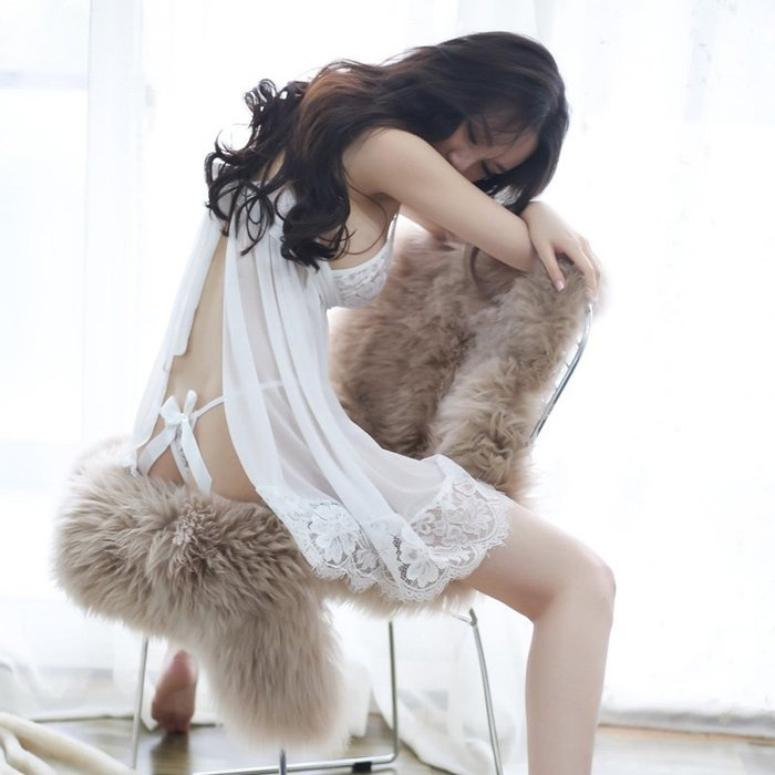 流行睡衣正韓版外貿三色性感睡衣情趣女夏秋冬新款超薄吊帶睡裙系帶透明兩件套