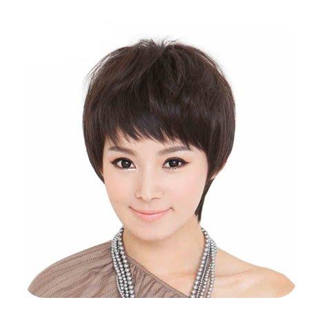 整頂 假髮 真髮絲-蓬鬆微捲斜瀏海短髮女假髮2色73vc8[獨家進口][巴黎精品]