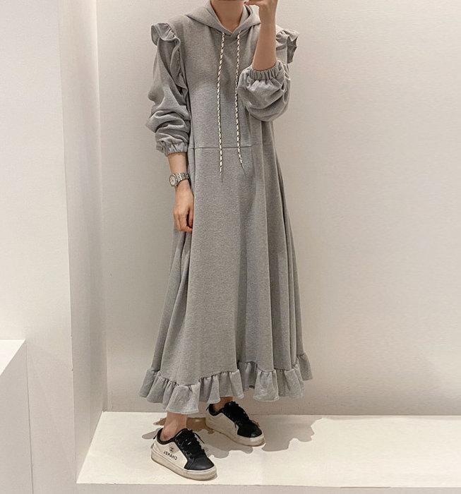 SeyeS  日韓系甜美復古荷葉下擺設計感連帽洋裝