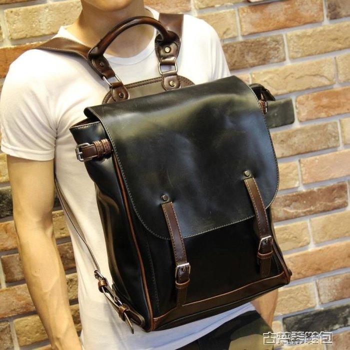 男包 校園休閒雙肩包男士韓版潮流皮背包男時尚學生書包旅行包