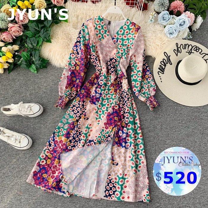JYUN'S 秋季新款日系修身顯瘦V領泡泡袖小花多彩色印花收腰過膝長袖連衣裙長裙洋裝 1色預購