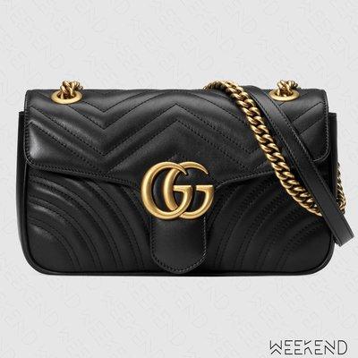 【WEEKEND】 GUCCI GG Small Marmont 皮革 中款 肩背包 黑色 443497