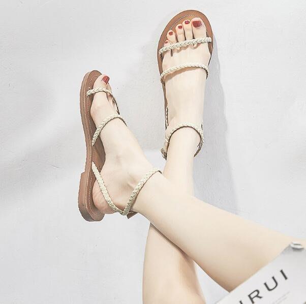 夏季涼鞋 平底鞋仙女風韓版百搭簡約學生一字帶羅馬涼鞋 —莎芭