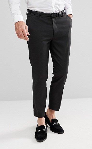 ◎美國代買◎ASOS復古褲型寛鬆大腿窄褲口復古時尚英倫紳士風八分西裝長褲~歐美街風~大尺碼