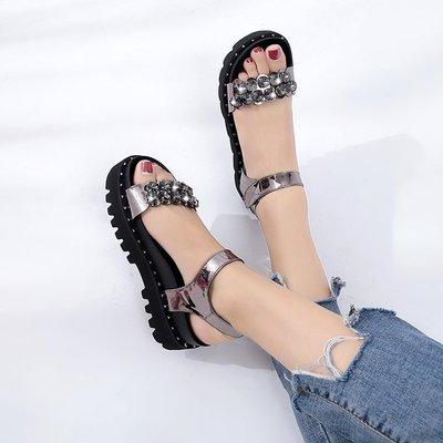 創意 夏季 正韓外穿涼鞋女夏新款松糕厚底百搭水鉆韓版學生魔術貼涼鞋平底