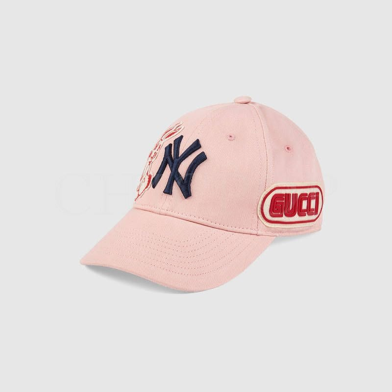 【ChicPop】GUCCI x NY  聯名 免子 棒球帽  帽子 粉色 538561