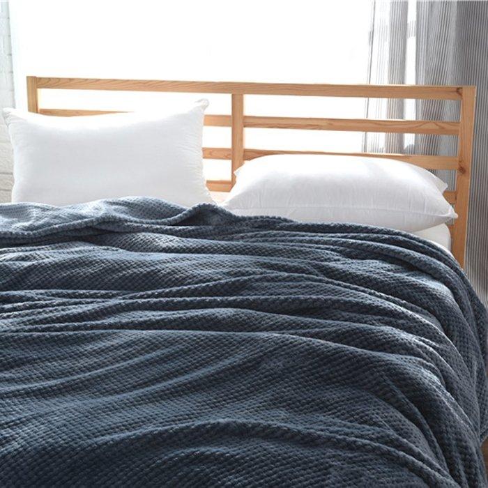 百貨世家 空調毯日式良品純色網眼珊瑚絨毛毯法蘭絨午睡小毯春夏單雙人空調毯子
