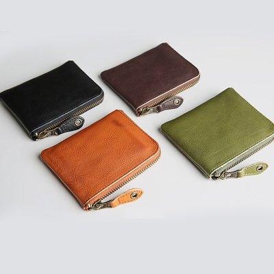 【極簡時尚】真皮原創復古短夾真皮超薄拉鏈零錢包