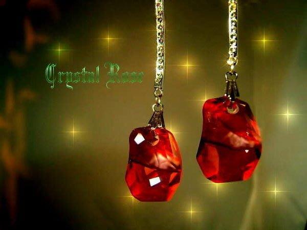 ※水晶玫瑰※ SWAROVSKI 天瑩水晶吊墜 進口鑲鑚弧形耳針耳環(DD056)~5色可選