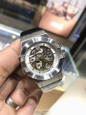 瑪莎拉蒂手錶MASERATI手錶POTENZA款,編號:R8821108020,銀色錶面黑色皮革錶帶款