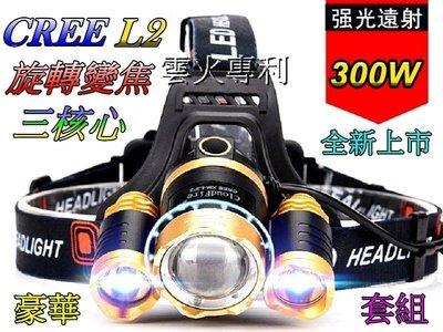 超低特價-(套組)美國三L2頭燈超強光旋轉變焦頭燈3600流明超強光18650雙鋰電多角度調整頭燈登山露營