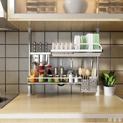 精選 304不銹鋼廚房置物架免打孔DIY支撐式頂天立地窗戶水槽瀝水碗碟盤