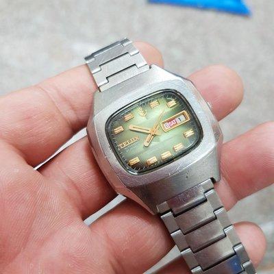 大錶徑<行走順暢>漸層綠 日本 TELUX 漂亮老錶 老收藏家釋出 可遇不可求!☆隨意賣 另有 機械錶 老錶 滿天星 潛水錶 三眼錶 陶瓷錶 中性錶 G05