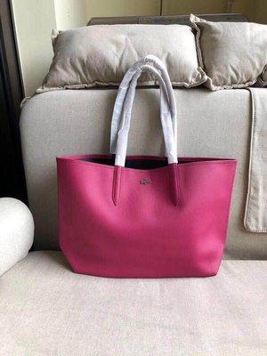 ╭☆包媽子店☆LACOSTE 桃紅色雙面可用單肩包/購物袋 ((容量超大))~子母包~